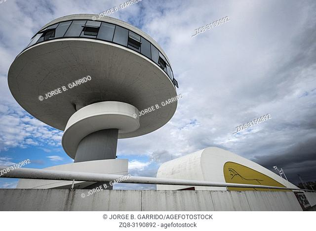 View of Niemeyer Center building in Aviles. The cultural center was designed by Brazilian architect Oscar Niemeyer