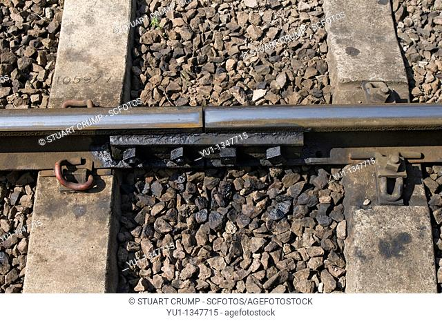 Close up of Rail fastening system on the Great Central Railway, Leicestershire, England, UK
