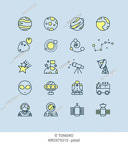 Set of line icons related to space