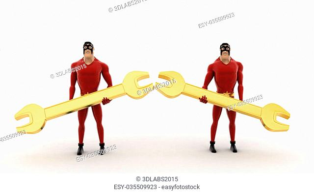 3d superhero holding golden wrench in hand concept on white background, front angle view