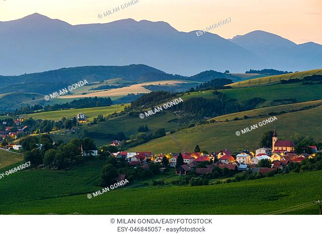Village amongst fields and pastures in Turiec region in central Slovakia.