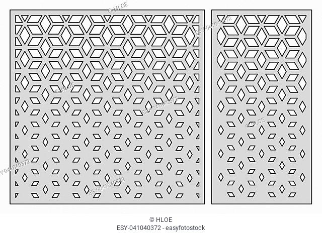 Set template for cutting. Square mesh pattern. Laser cut. Ratio 1:1, 1:2. Vector illustration