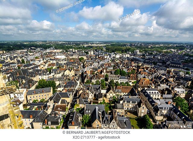Bourges. Looking across the rooftops of Bourges from the top of the cathedral, Cher, Berry, Centre-Val de Loire, France, Europe