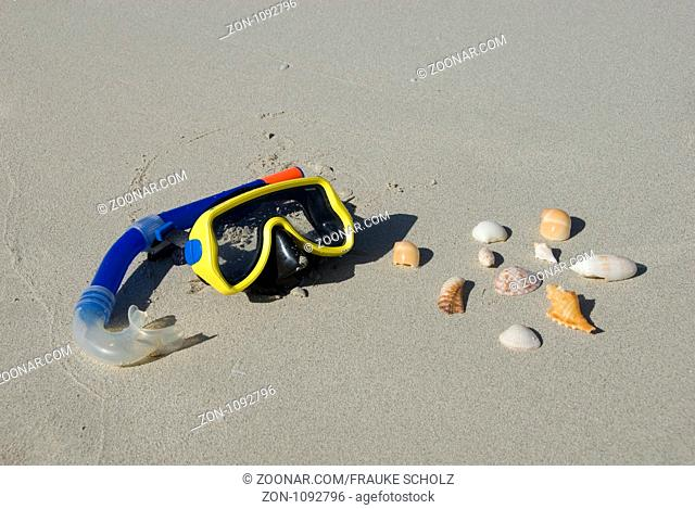 Kuba, Karibik, Varadero, Taucherbrille und Muscheln am Strand