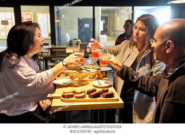 Breakfast in Cafe Tabakalera, Gastronomic tour, guide with tourist couple, Donostia, San Sebastian, Gipuzkoa, Basque Country, Spain, Europe