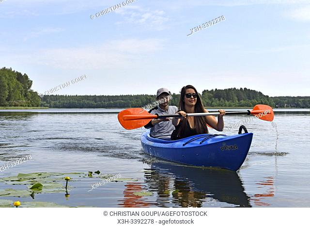 canoe trip on Baluosas Lake around Ginuciai, Aukstaitija National Park, Lithuania, Europe