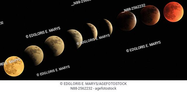 Total lunar eclipse progression to blood moon 27/28 2015