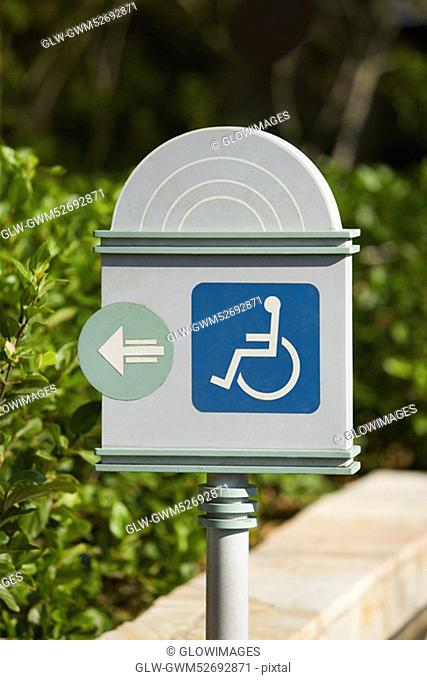 Close-up of a disabled driver sign
