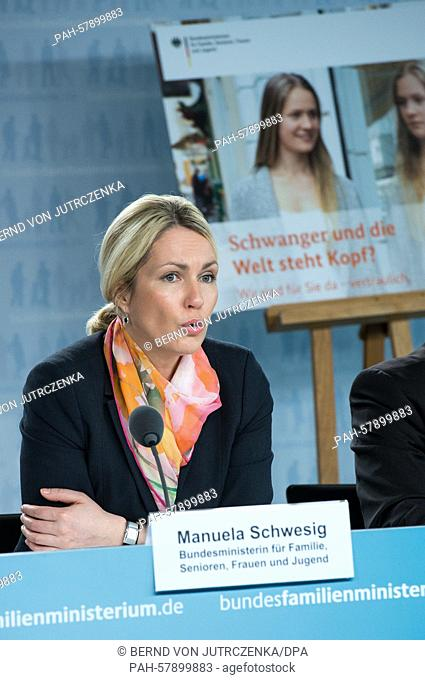 German Family Minister Manuela Schwesig (SPD) speaks during a press conference on the topic 'Ein Jahr vertrauliche Geburt' (lit