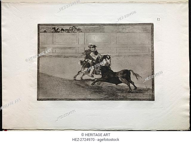 Bullfights: A Spanish Mounted Knight in the Ring Breaking Short Spears Without the Help.., 1876. Creator: Francisco de Goya (Spanish, 1746-1828)