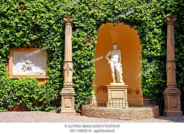 Garden with sculpture, Can Papiol Romantic Museum, Vilanova i la Geltrú, Catalonia, Spain