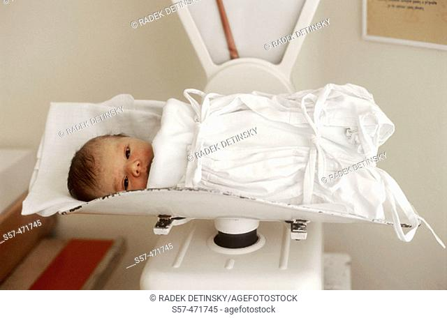 new born (two days old) baby-girl on scales in maternity hospital