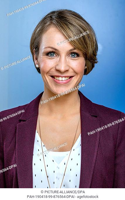 "12 April 2019, Saxony, Leipzig: The former biathlete Magdalena Neuner, recorded during the MDR talk show """"Riverboat"""" on 05.04.2019 in Leipzig"