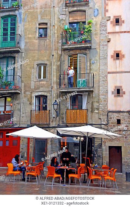 bar terrace, Plaça de Sant Just, Ciutat Vella, Barcelona, Catalonia, Spain