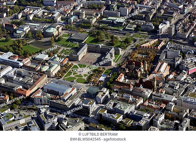 old castle, new castle, castle square, parliament, opera, theatre and pedestrian zone, Germany, Baden-Wuerttemberg, Stuttgart