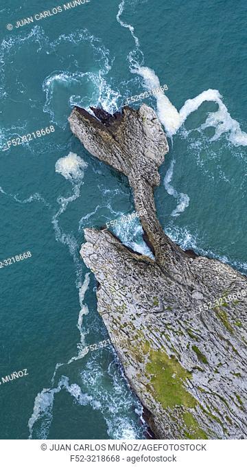 Coastal landscape in Islares, Castro Municipality, Cantabrian Sea, Cantabria, Spain, Europe