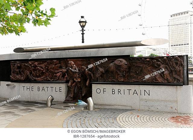 The Battle of Britain monument alongside the River Thames, London, England, United Kingdom, Europe