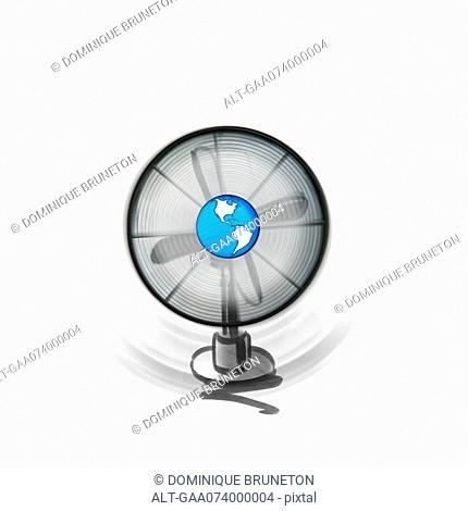 Wind energy, fan with earth in center
