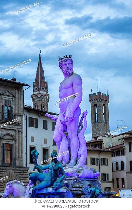 Neptune's statue in Piazza della Signoria, Florence, Tuscany, Italy