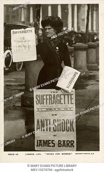 London Life - A Rotary Postcard photograph showing a suffragette selling copies of 'The Suffragette paper - October, 1912