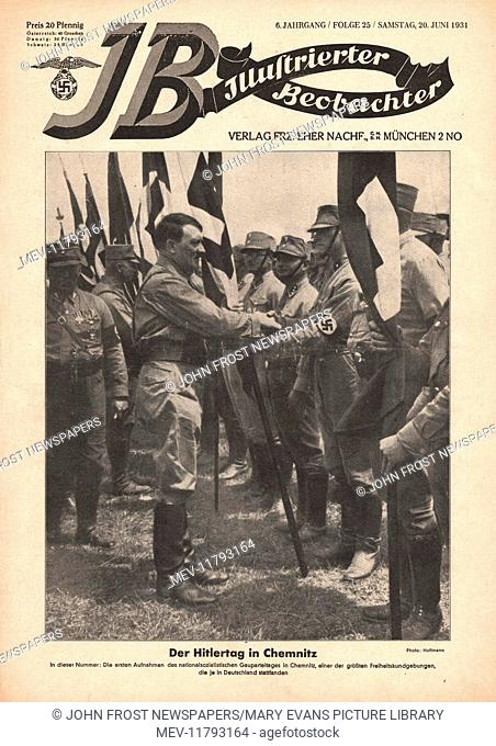 1931 Illustrierte Beobachter front page Adolf Hitler with SA troops in Chemnitz