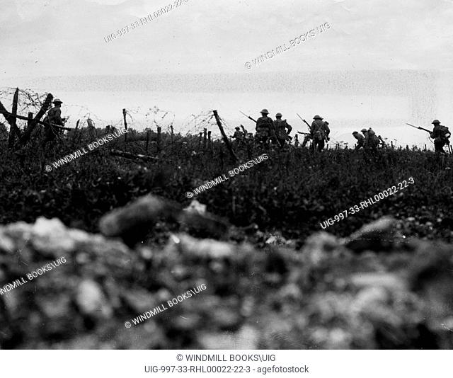 Men of the Wiltshire Regiment advancing to the attack, Theipval. 7th August, 1916. British Front - France General Battle Somme