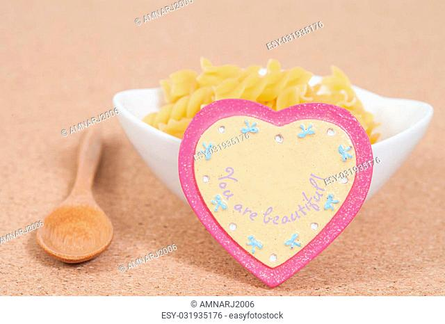 Heart-shaped and food on table