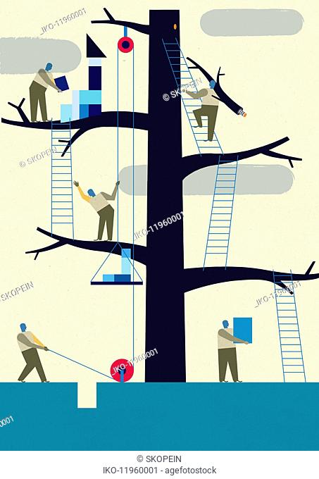 Workers using teamwork to assemble tree