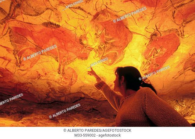 Bisons in Altamira's reproduction cave (Neo Cave). Altamira museum. Santillana del Mar. Spain