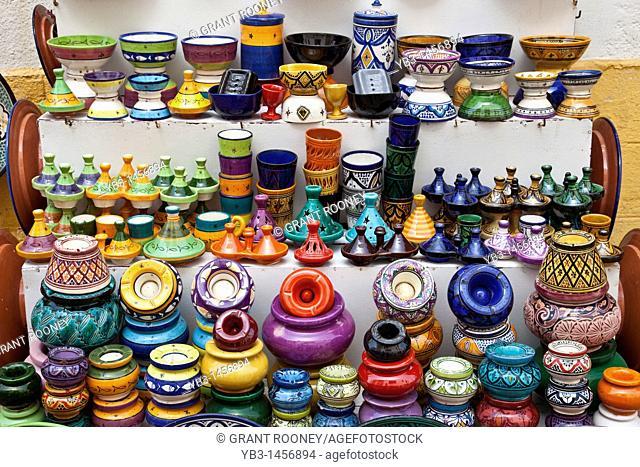 Colourful ceramic pots and bowls for sale, Essaouira, Morocco