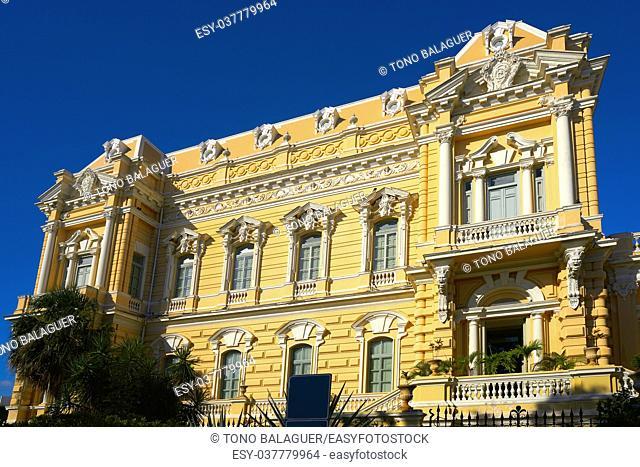Merida yellow facade in Paseo Montejo of Yucatan in Mexico