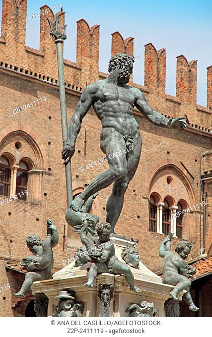 Re Enzo Palace and Neptune fountain Bologna Italy