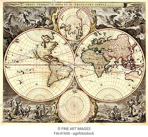 Orbis terrarum nova et accuratissima tabula by Visscher, Nicolaes (1618-1679)/Etching/Cartography/ca 1690/Holland/Private Collection/History/Graphic arts/Orbis...