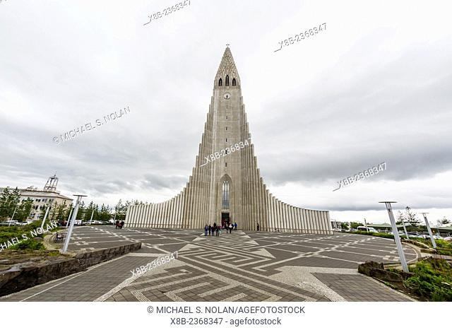 Exterior view of Hallgrímskirkja, The Church of Hallgrímur, a Lutheran church in Reykjavík, Iceland
