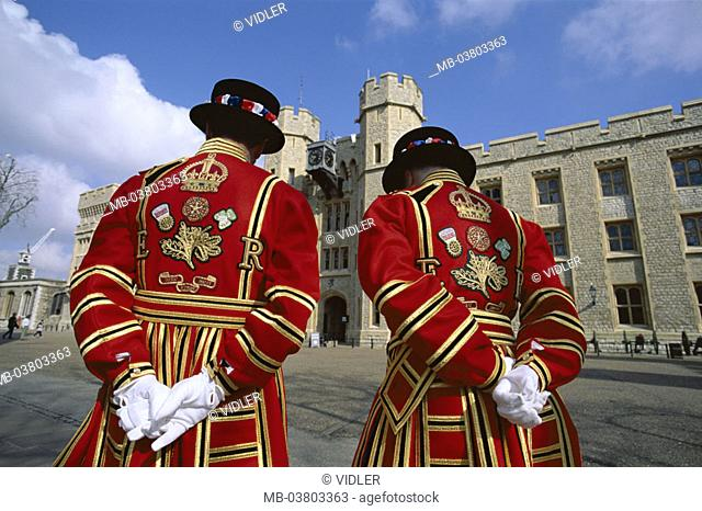 Great Britain, England, London,  Tower, Beefeaters, view from behind   Europe, island, city, capital, buildings, men, station, watches, two, outfits, uniforms