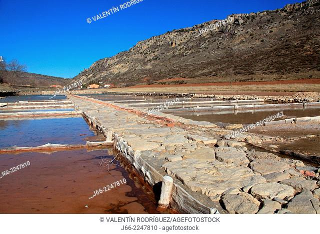 Saltworks in Saélices de la Sal, Alto Tajo Natural Park, Guadalajara province, Castilla-La Mancha, Spain