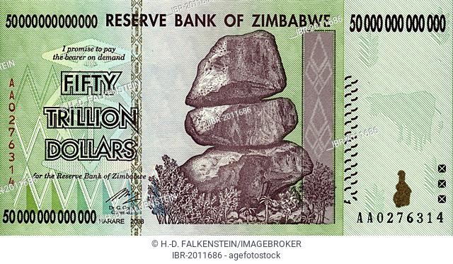 Banknote 50 Trillion Zimbabwean Dollars 2008 Inflation Money Harare Zimbabwe