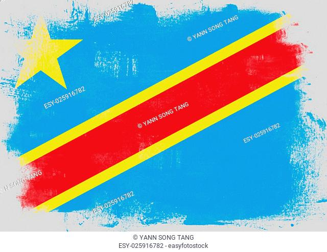 Flag of Democratic Republic of the Congo painted with brush on solid background