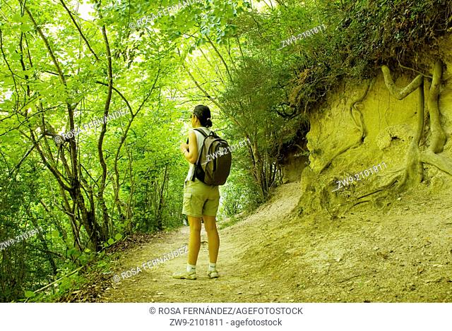 A young woman walking in a trail at the Puron river valley, province of Burgos, Castilla y Leon, Spain