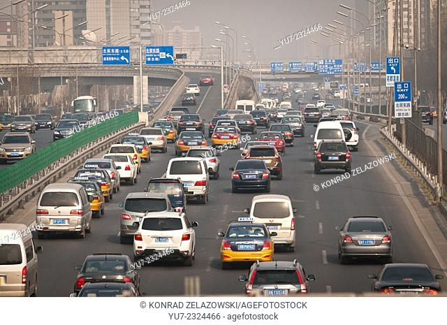 Traffic at the North 4th Ring Road Middle in Beijing, China