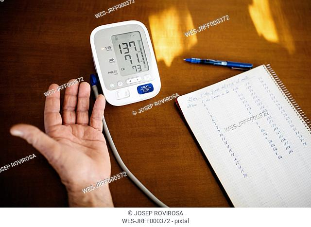Hand of senior man controlling his blood pressure, close-up