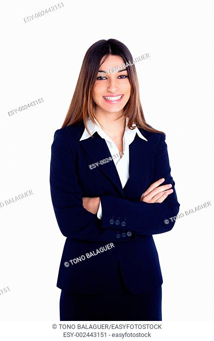asian indian business woman happy smiling with blue suit isolated on white