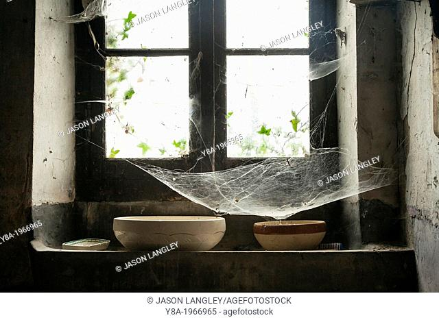 Cobwebs in a window of an old farmhouse, La Creuse, Limousin, France