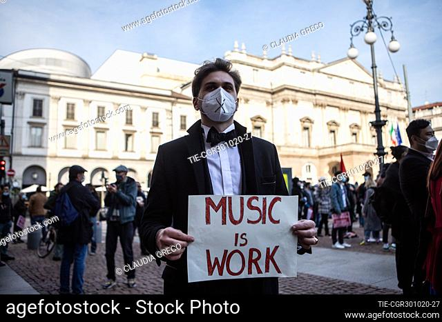 Protest of musicians, dancers and theater workers against the government restriction measures of closing gyms, cinemas and movie theaters to curb the spread of...