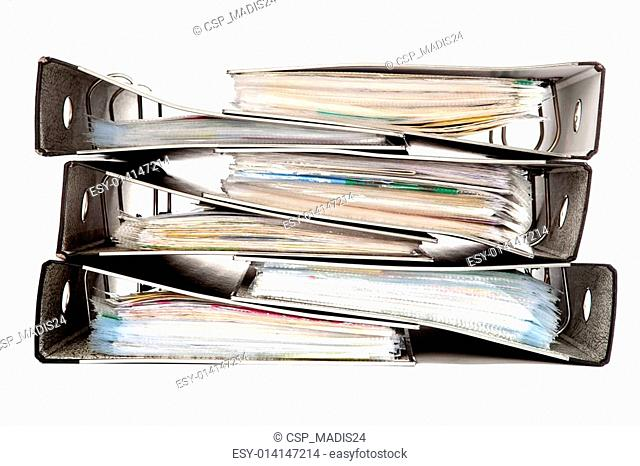 Stack of Folders on a White Isolated Background