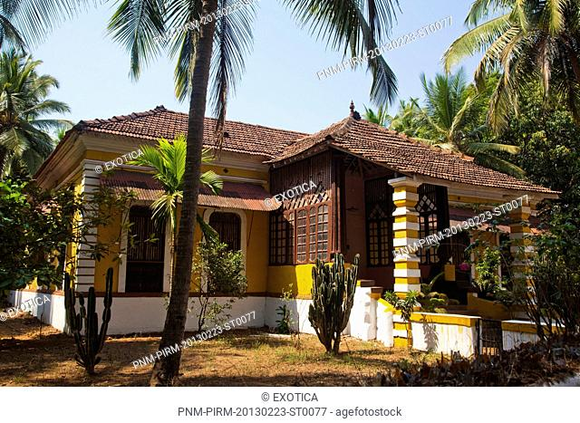Facade of a building, Siolim, North Goa, Goa, India