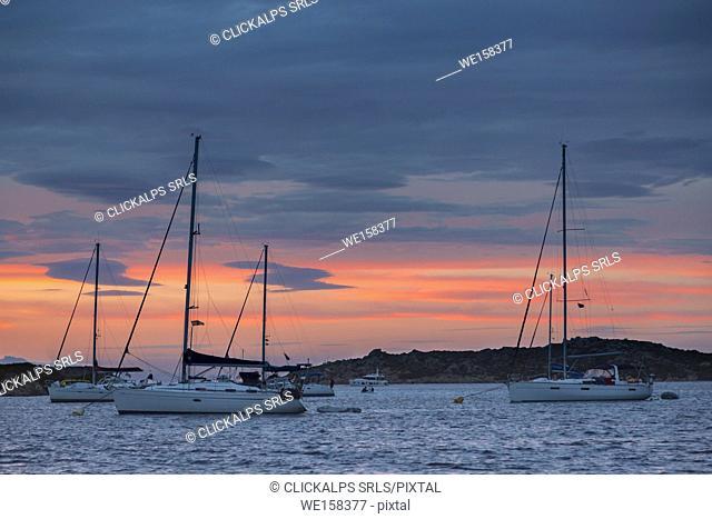 Sailing boats at dusk (Budelli island, Archipelago of La Maddalena National Park, Sassari province, Sardinia, Italy, Europe)