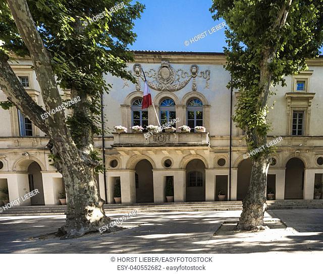 St Rémy de Provence, town hall square. Buches du Rhone, Provence, France.