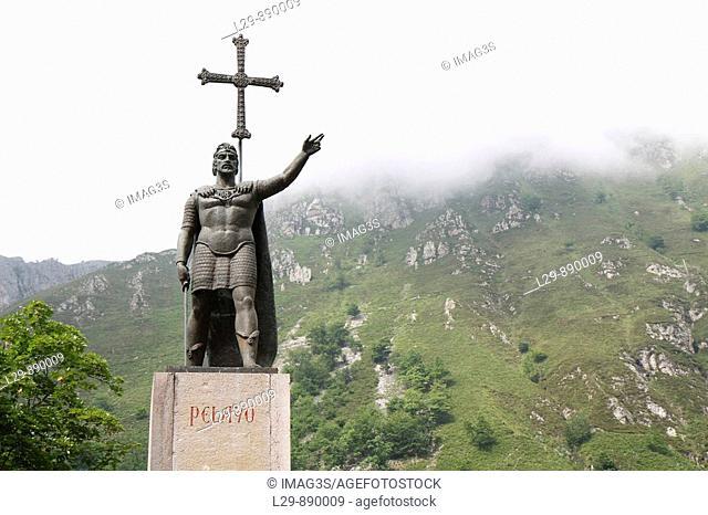 King Pelayo (Christian king of Asturias) in Covadonga Sanctuary, Asturias, Spain