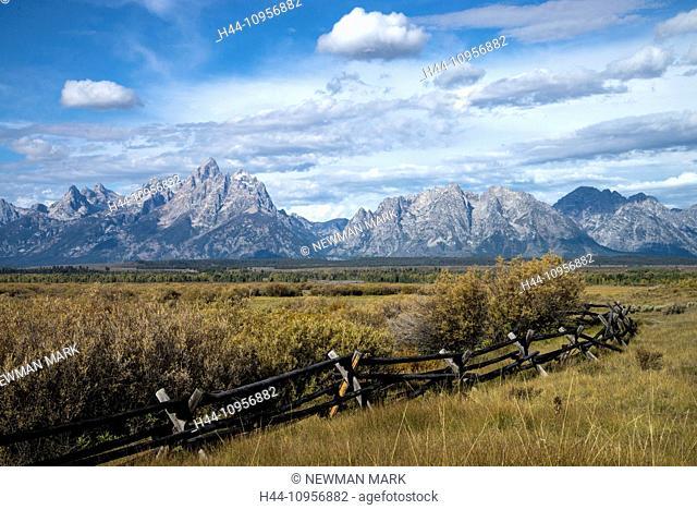 Grand Teton, national park, Wyoming, USA, United States, America, landscape, mountain, fence